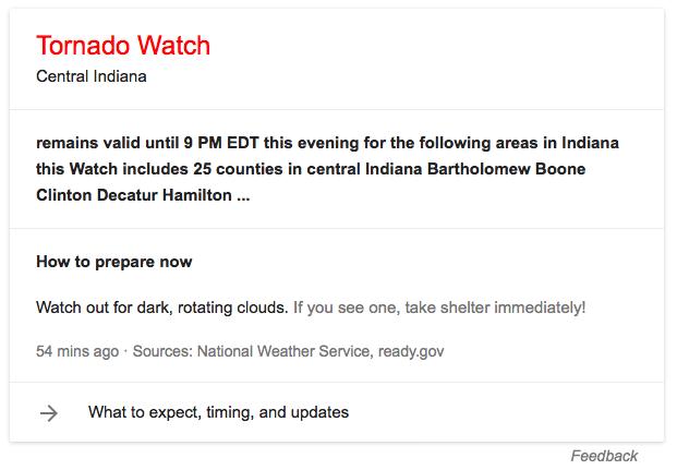 Tornado watch google alert for Indiana