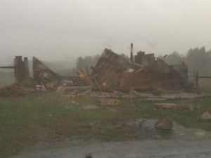 A structure completely destroyed by a storm