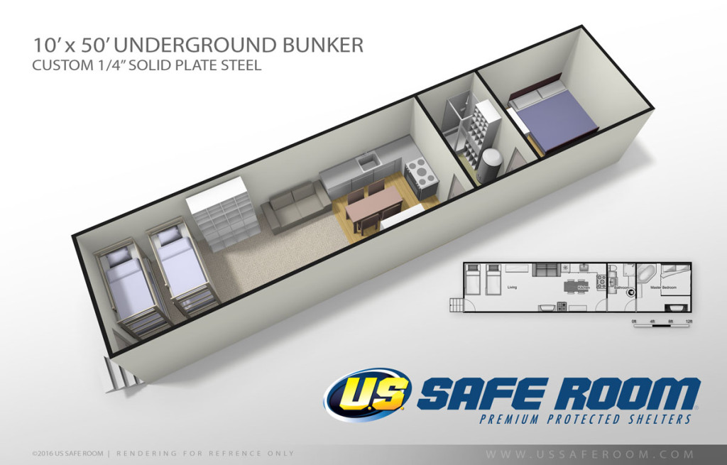 10' x 50' Underground Bunker Floor Plan by US Safe Room