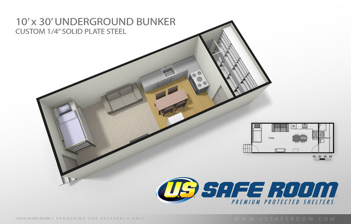 Safe and secure underground bunker.