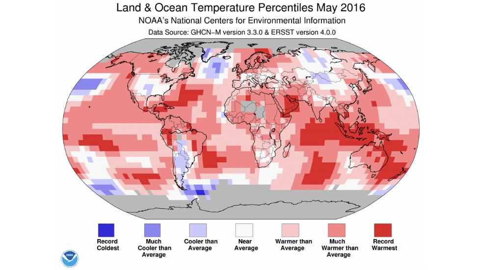 Land and ocean temperature percentiles may 2016