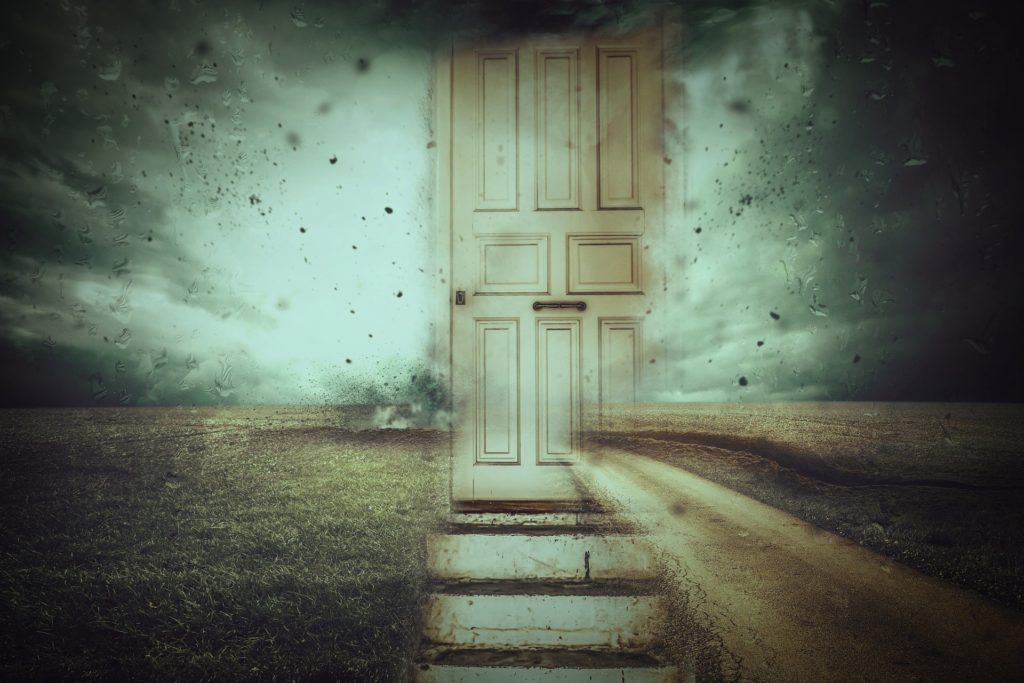 Dream world with a door
